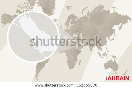 Zoom on Bahrain Map and Flag. World Map. Rasterized Copy. - stock photo