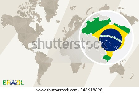Zoom on Brazil Map and Flag. World Map. Rasterized Copy. - stock photo