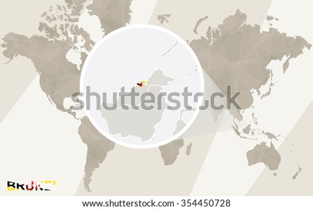 Zoom on Brunei Map and Flag. World Map. Rasterized Copy. - stock photo