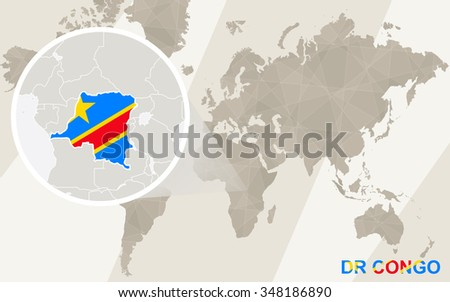 Zoom on DR Congo Map and Flag. World Map. Rasterized Copy. - stock photo