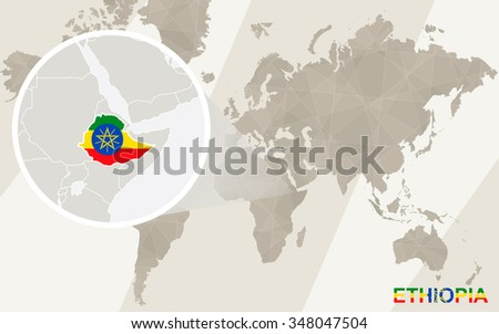 Zoom on Ethiopia Map and Flag. World Map. Rasterized Copy. - stock photo