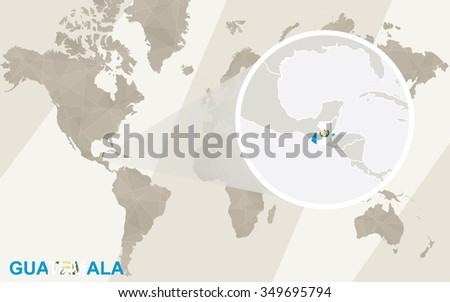 Zoom on Guatemala Map and Flag. World Map. Rasterized Copy.  - stock photo