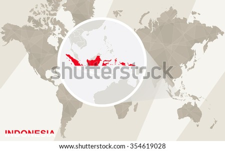 Zoom on Indonesia Map and Flag. World Map. Rasterized Copy. - stock photo