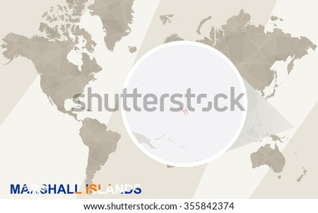 Zoom on Marshall Islands Map and Flag. World Map. Rasterized Copy. - stock photo