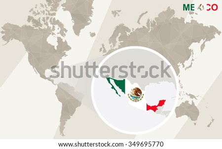 Zoom on Mexico Map and Flag. World Map. Rasterized Copy. - stock photo