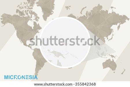 Zoom on Micronesia Map and Flag. World Map. Rasterized Copy. - stock photo