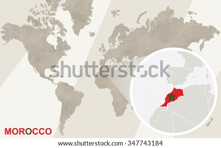 Zoom on Morocco Map and Flag. World Map.  Rasterized Copy. - stock photo