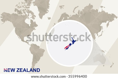 Zoom on New Zealand Map and Flag. World Map.  Rasterized Copy. - stock photo