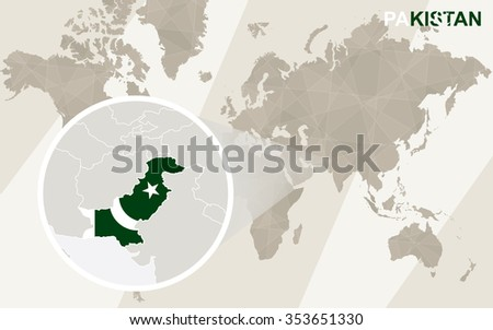 Zoom on Pakistan Map and Flag. World Map. Rasterized Copy. - stock photo