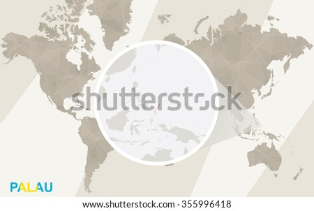 Zoom on Palau Map and Flag. World Map. Rasterized Copy. - stock photo