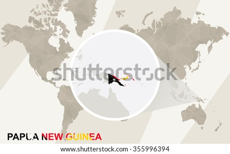 Zoom on Papua New Guinea Map and Flag. World Map. Rasterized Copy. - stock photo