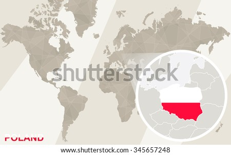 Zoom on Poland Map and Flag. World Map. Rasterized Copy.