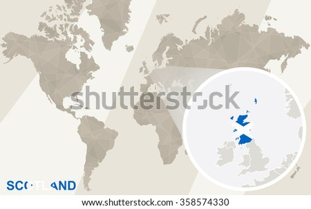 Zoom on Scotland Map and Flag. World Map. Rasterized Copy. - stock photo