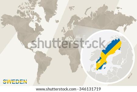 Zoom On Sweden Map Flag World Stock Illustration 346131719 ...