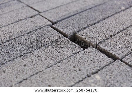 Zoomed in view of precast concrete on a construction site - stock photo