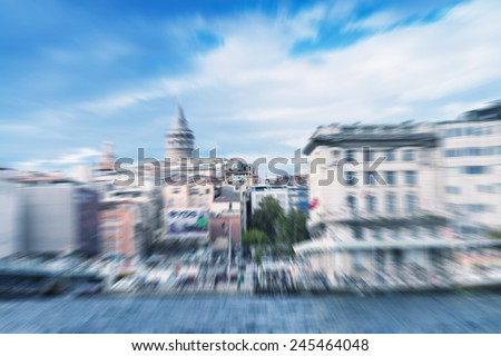 Zoomed view of Beyoglu and Galata Tower, Istanbul. - stock photo