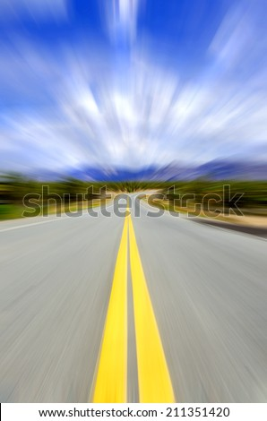 Zooming street view - stock photo