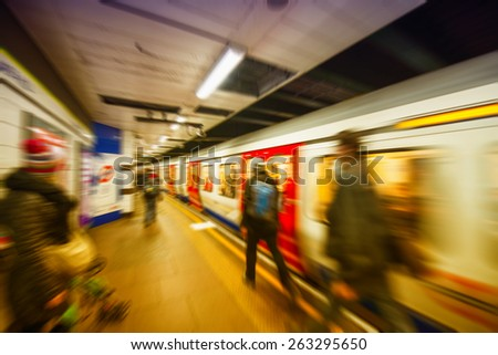 Zoommed view of a London Tube. - stock photo