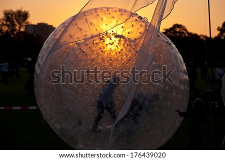 Zorbing Ball on a Playground - stock photo