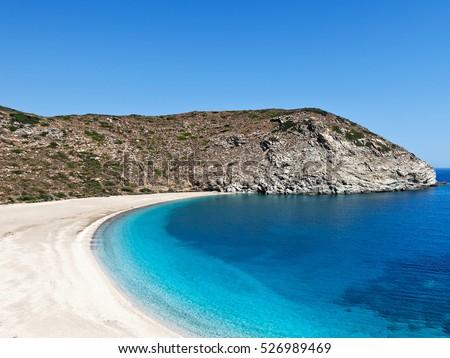 Zorgos Definitely Most Beautiful Beach Andros Stock Photo 526989469