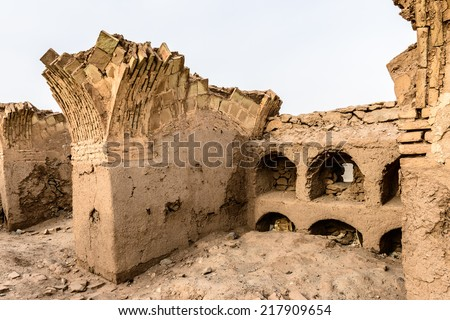 Zoroastrian architecture ruins near the Tower of Silence, or Dakhma,is a Zoroastrian structure which was used for exposure of the dead body for sky burial .