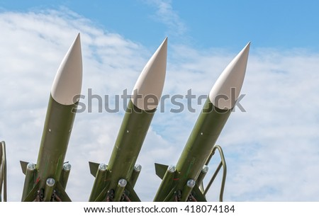 Zrenjanin, SERBIA: May 2016, Detail of Missiles on SAM 3M9ME-M3E or 2K12 KUB, SA-6 Gainful Mobile Anti-Aircraft system. - stock photo