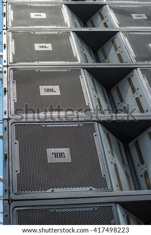 Zrenjanin, SERBIA: May 2016, JBL VT4889 3-Way Line Array Element, Composite Box loudspeakers cluster used for emmiting sound on event Begej 2016 Military Parade