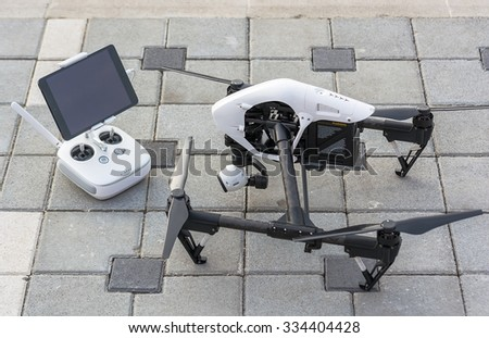 Zrenjanin, SERBIA: October 2015, Image of the Dji Inspire 1 drone UAV quadcopter which shoots 4k video and 12mp still images and is controlled by wireless remote with a range of 4km