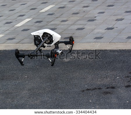 Zrenjanin, SERBIA: October 2015, Image of the Dji Inspire 1 drone UAV quadcopter which shoots 4k video and 12mp still images and is controlled by wireless remote with a range of 4km - stock photo