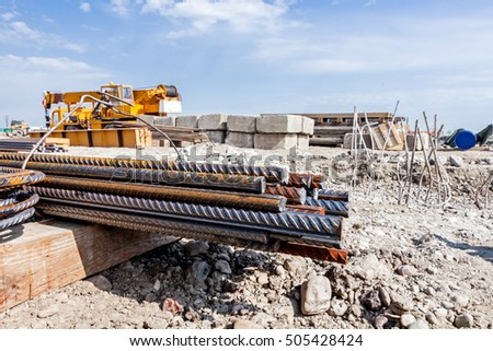Zrenjanin, Vojvodina, Serbia - April 24, 2015: Steel bars stacked for construction, classified by the bending shape at construction site.