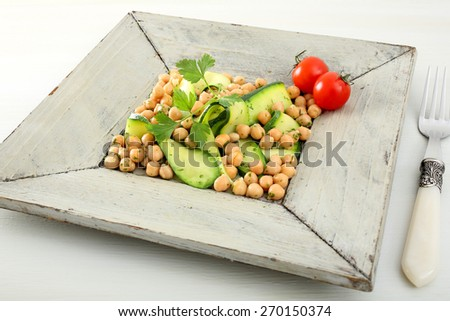 zucchini and chickpeas salad - stock photo