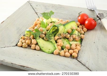 zucchini and chickpeas salad - stock photo