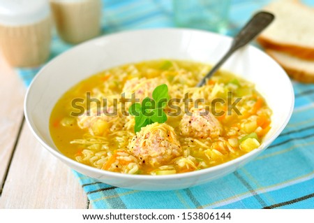 Zucchini and Meatball Soup - stock photo