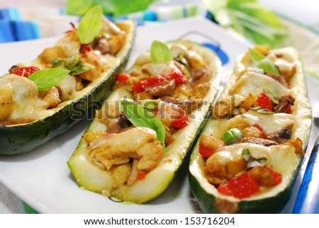 zucchini halves stuffed with curry chicken,mushrooms,pepper and ...