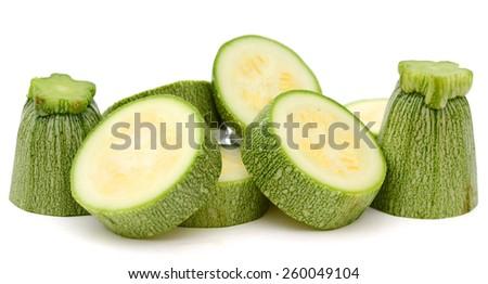 zucchini isolated on white background - stock photo