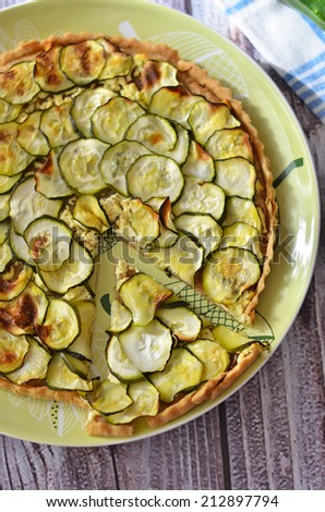 Zucchini pie served on the plate  - stock photo