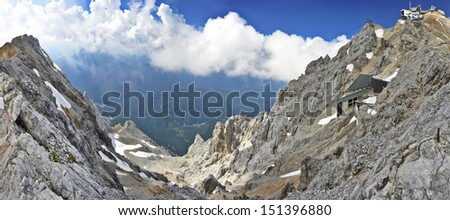 Zugspitze high mountain in Germany - Old and New Lift - stock photo