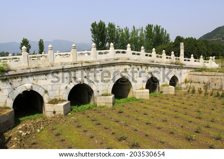 ZUNHUA MAY 18: Ancient China stone bridge landscape architecture in the Eastern Tombs of the Qing Dynasty on may 18, 2014, Zunhua county, Hebei Province, China.