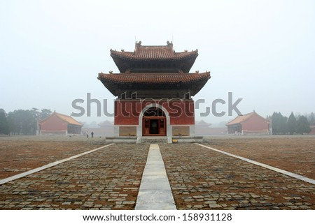 Zunhua, May 13: Chinese ancient architecture landscape in the Eastern Royal Tombs of the Qing Dynasty on May 13, 2012, Zunhua City, Hebei Province, china.  - stock photo
