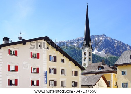 ZUOZ, SWITZERLAND - JUNE 26, 2015: Medieval town centre. Zuoz has many cobblestoned streets, an elegant town center and numerous beautiful old buildings. - stock photo