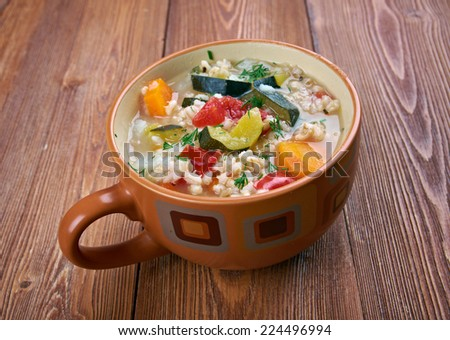 Zuppa d�¢??orzo - barley soup with vegetables, traditional italian dish