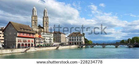 Zurich across Limmat river - stock photo