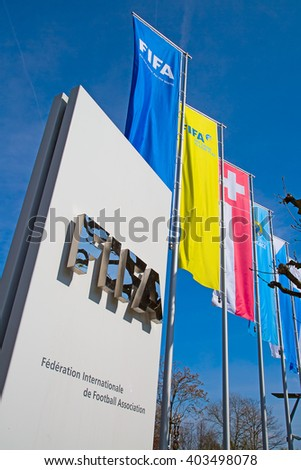 ZURICH - APRIL 10: Headquarter of FIFA international football (soccer) association on April 10, 2016 in Zurich, Switzerland. FIFA is heavily critizied for multiple corruption scandals. - stock photo