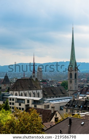 Zurich center. Image of ancient European city, view from the top. Beautiful house and chapel. - stock photo