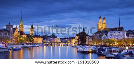 Zurich. Panoramic image of Zurich during twilight blue hour. - stock photo