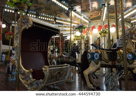 zurich,swiss: empty merry-go-round at night in carnival switzerland by zhudifeng on Oct 10 2015 - stock photo