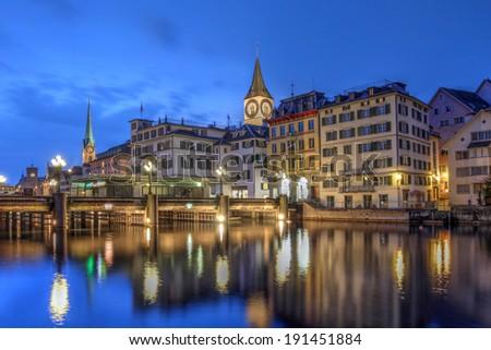 Zurich, Switzerland at twilight. - stock photo