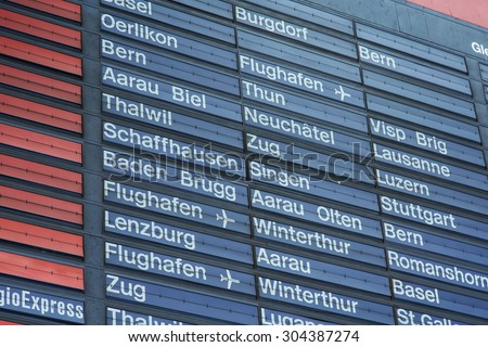 Zurich, Switzerland - 9 August, 2015: arrival-departure board of the Zurich main railway station close up. Zurich is the largest city in Switzerland and the capital of the Canton of Zurich.