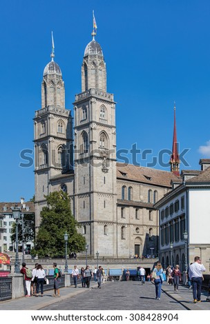 Zurich, Switzerland - 21 August, 2015: view along the Munsterbrucke bridge towards the Grossmunster. Zurich is the largest city in Switzerland and the capital of the Canton of Zurich.