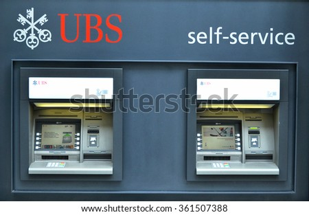 ZURICH, SWITZERLAND - DECEMBER 29, 2013 - ATMs of UBS bank, a Swiss global financial services company. - stock photo